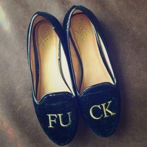 Black velvet F*CK loafers.
